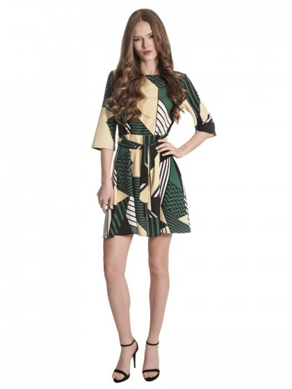 Φόρεμα γεωμετρικά κίτρινο