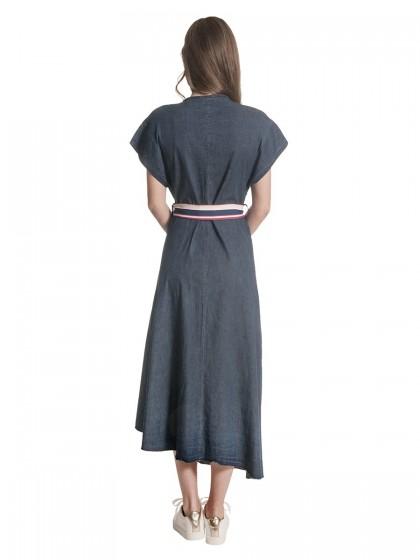 Φόρεμα τζιν μάξι ζώνη ριγέ