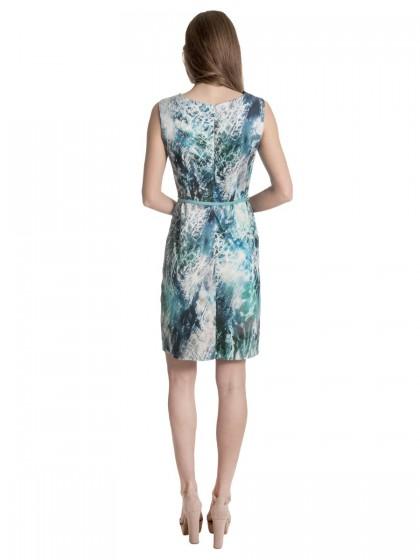 Φόρεμα αφηρημένα σχέδια ζώνη