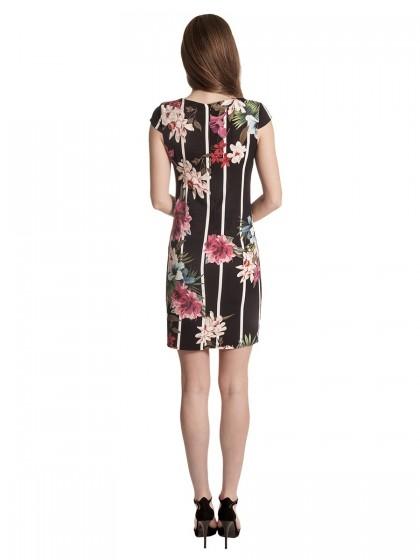 Φόρεμα μαύρο ριγέ-λουλούδια