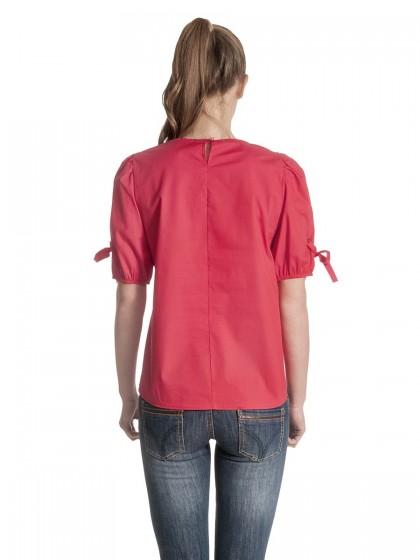 Μπλούζα μονόχρωμη τρουκς μανίκια