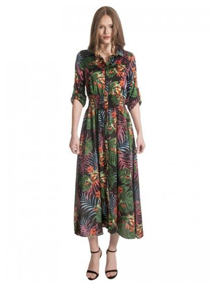 Φόρεμα μάξι γιακάς κουμπιά