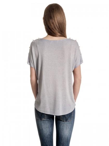 Μπλούζα πέρλες ώμοι