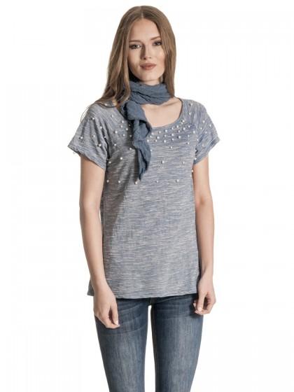 Μπλούζα πέρλες φουλάρι