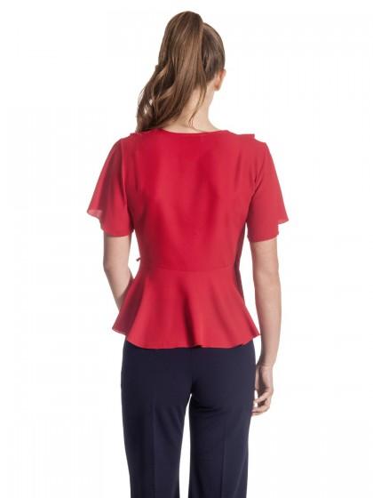 Μπλούζα κόκκινη κρουαζέ βολάν