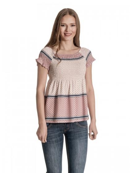 Μπλουζάκι ροζ πουά λάστιχα