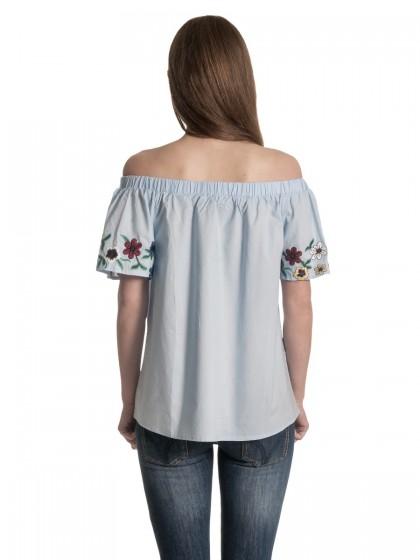 Μπλούζα ποπλίνα λουλούδια