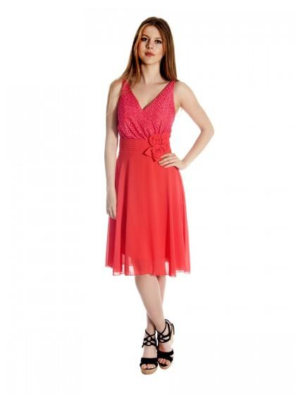 Φόρεμα αμπιγιέ δαντέλα-μουσελίνα