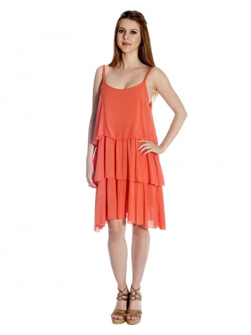 Φόρεμα τιράντες 3 βολάν