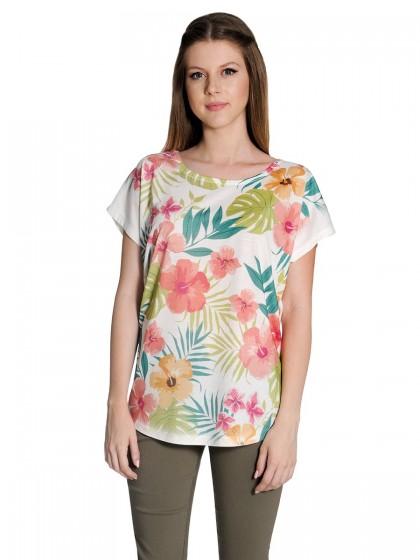 Μπλούζα λουλούδια-φύλλα