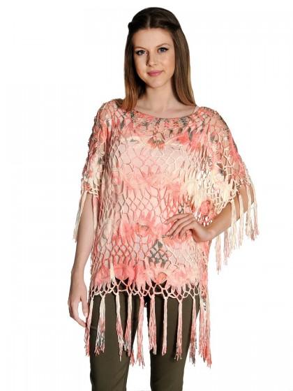 Μπλούζα κροσέ ροζ εμπριμέ