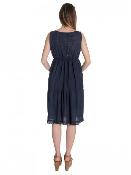 Φόρεμα μπλε μπροντερί δαντέλα