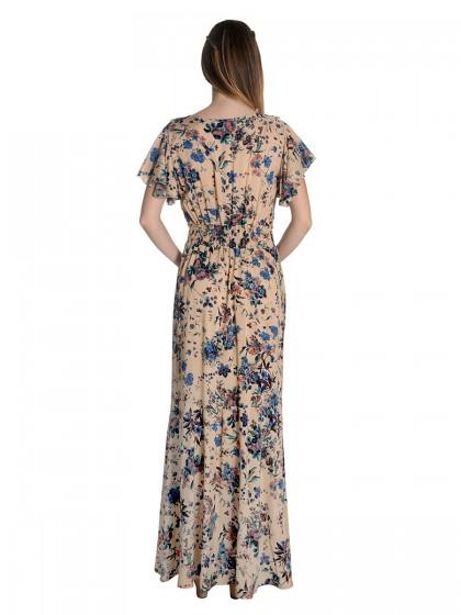 Φόρεμα μάξι μπεζ λουλούδια