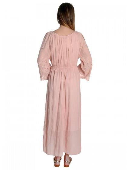 Φόρεμα μάξι δαντέλα μαργαρίτες