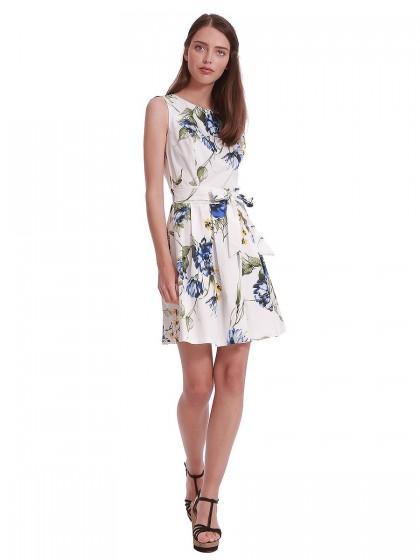 Φόρεμα λευκό εμπριμέ πιέτες