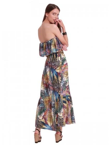 Φόρεμα μάξι φύλλα βολάν