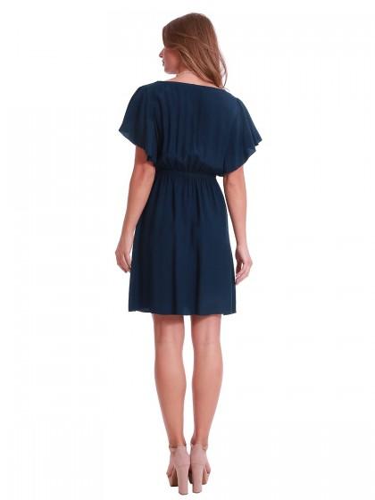 Φόρεμα μπλε βισκόζη βολάν μανίκια