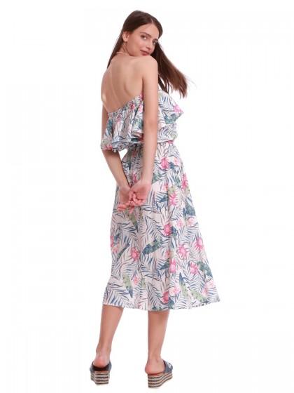 Φόρεμα μάξι λευκό βολάν