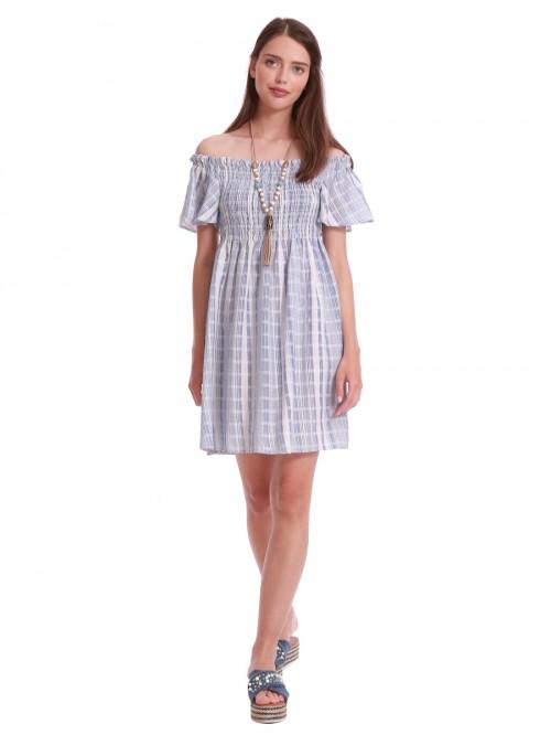 Φόρεμα σιελ καρό σφιγγοφωλιά