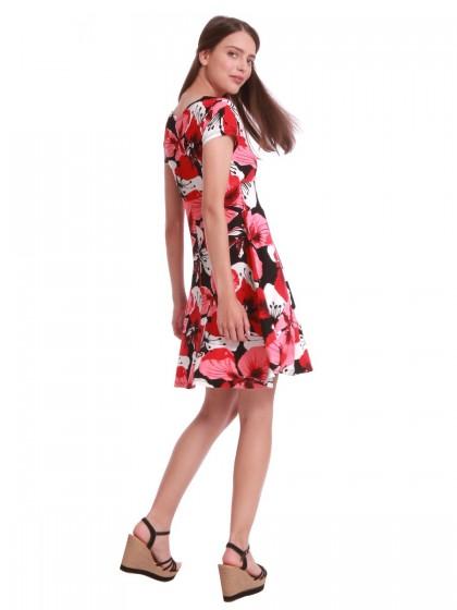 Φόρεμα καθημερινό κόκκινο εμπριμέ