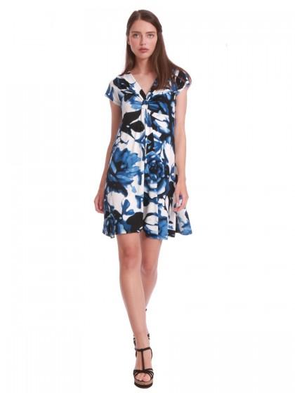 Φόρεμα καθημερινό μπλε  εμπριμέ
