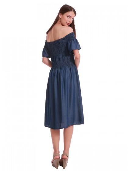 Φόρεμα τζιν κοντομάνικο σφιγγοφωλιά