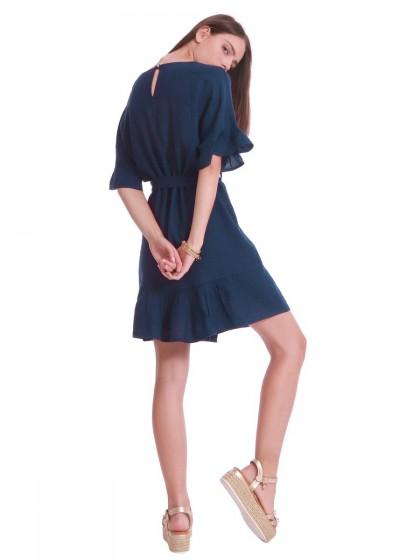 Φόρεμα λινό ίσιο βολάν μανίκια