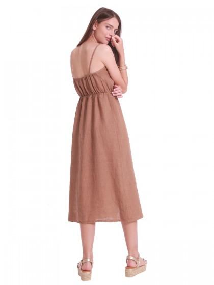 Φόρεμα λινό τιράντες κουμπιά