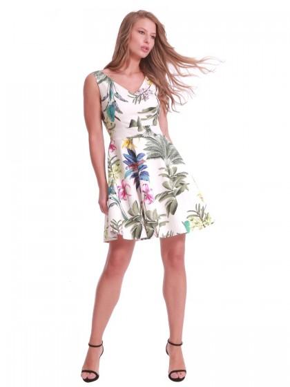 Φόρεμα λευκό εβαζέ φύλλα