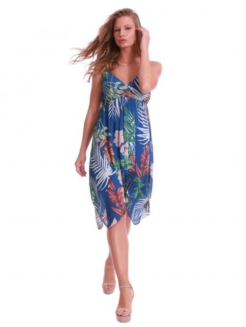 Φόρεμα βραδινό ασύμμετρο μπλε