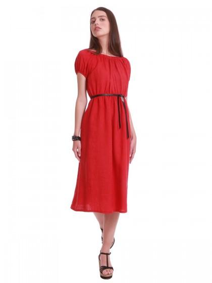 Φόρεμα λινό κοντομάνικο λάστιχα