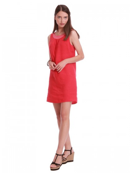 Φόρεμα λινό κόκκινο παγέτα