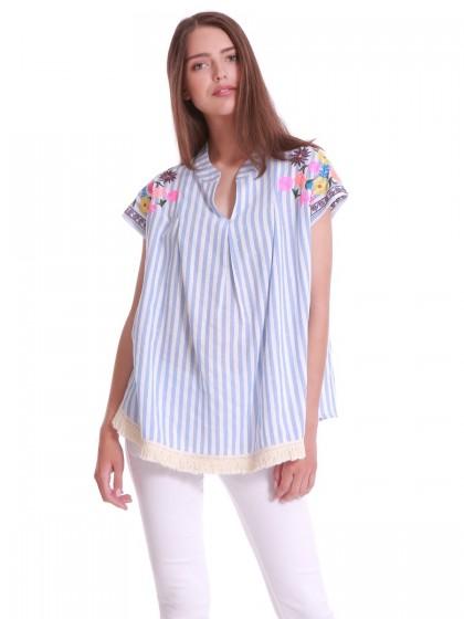 Μπλούζα ριγέ υφαντά λουλούδια