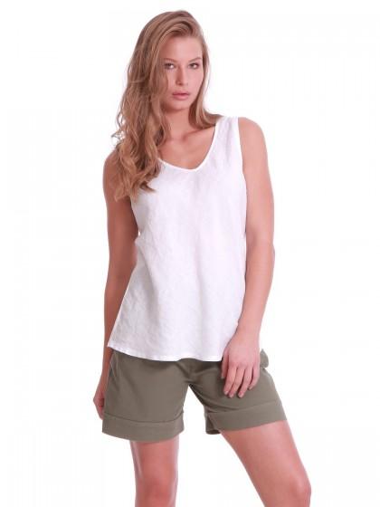 Μπλούζα λευκή λινή  λοξή