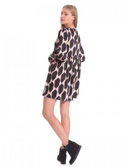 Φόρεμα γεωμετρικά μαύρο-μπεζ