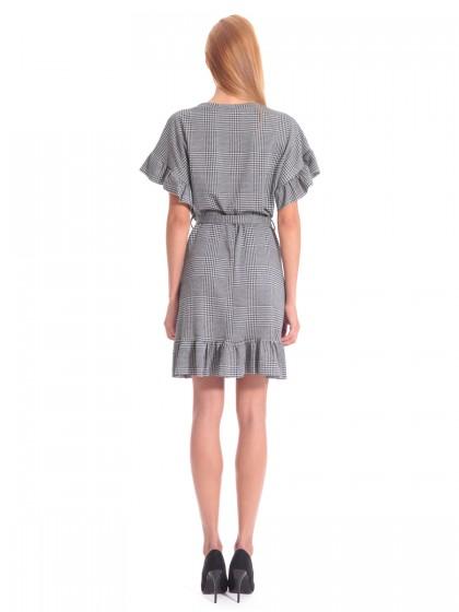 Φόρεμα καρό βολάν ασπρόμαυρο