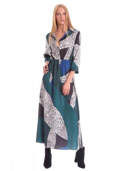 Φόρεμα μάξι γιακάς γεωμετρικά