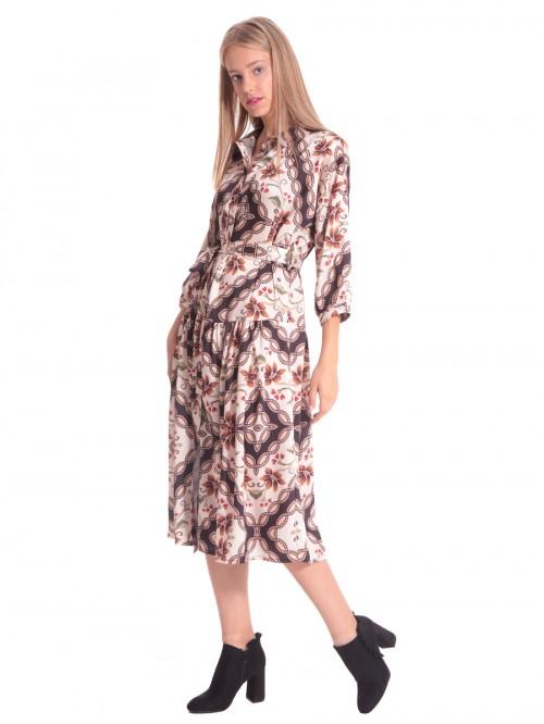 Φόρεμα μάξι λουλούδια γιακάς κουμπιά