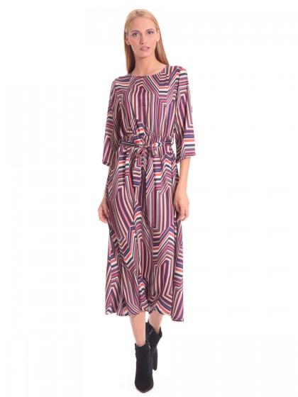 Φόρεμα μάξι ρίγες ζώνη