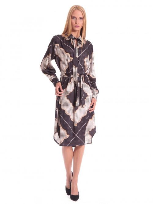 Φόρεμα μάξι σατέν πουά με δέσιμο