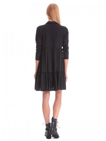 Φόρεμα μαύρο ζέρσεϊ-σατέν
