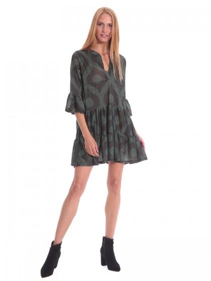 Φόρεμα μεταλιζέ βολάν πράσινο