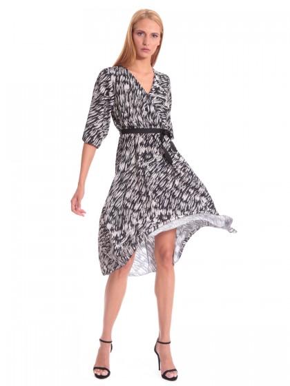 Φόρεμα μίντι μπεζ-μαύρο