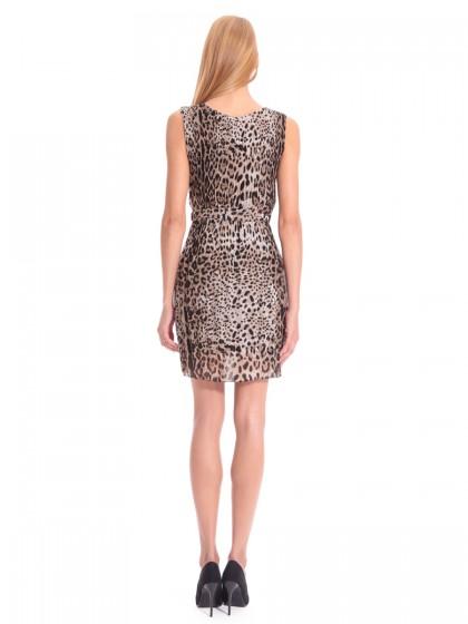 Φόρεμα πλισέ λεοπάρ μουσελίνα