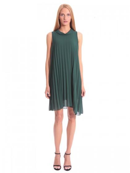 Φόρεμα πλισέ μουσελίνα πεστός γιακάς