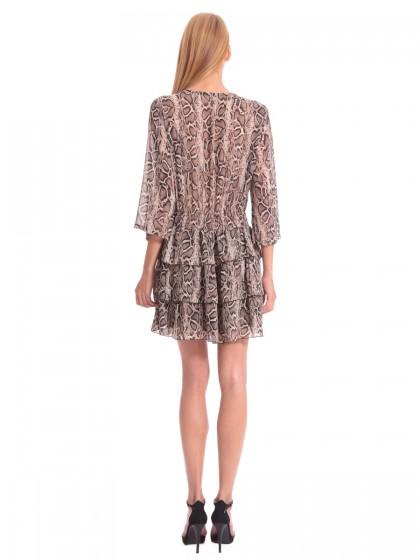 Φόρεμα φίδι μουσελίνα 3 βολάν