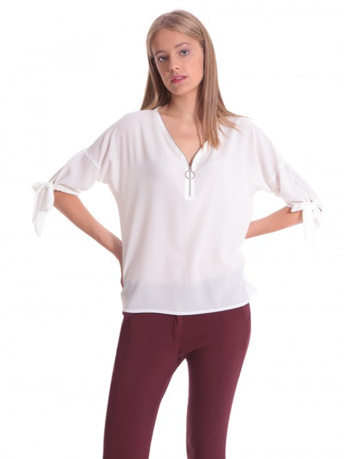 Μπλούζα λευκή V φερμουάρ