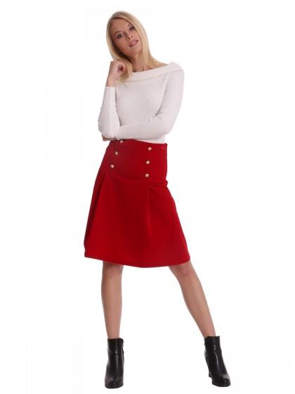 Φούστα κοτλέ κόκκινη