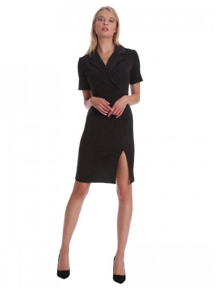 Φόρεμα μαύρο ριγέ πέτα