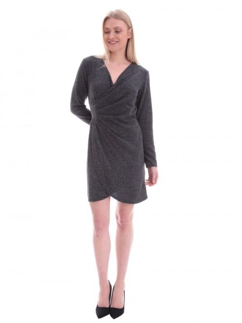 Φόρεμα γκρι πλεκτό κρουαζέ - ΓΚΡΙ 240c4b22912